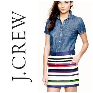 NWT J. Crew Multicolored Striped Mini Skirt